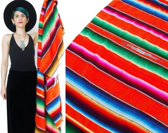 Vintage Mexican striped Blanket Rainbow Serape Blanket Picnic Beach Blanket Neon Orange Small Throw Blanket Festival Southwest Fringe