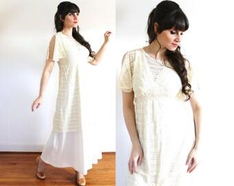 Edwardian 70s Wedding Dress / 1970s Edwardian Style Lace Boho Wedding Dress