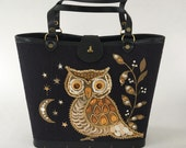 Vintage 60s Owl Handbag with Jewels