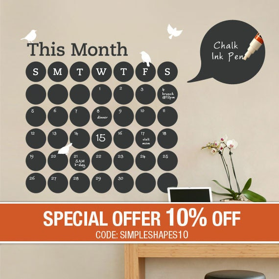 Daily Dot Chalkboard Wall Calendar - Vinyl Wall Decal