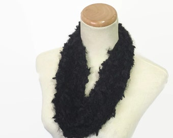 Black Cowl, Hand Knit Cowl, Knit Scarf, Circle Scarf, Gift For Her, Fiber Art, Fashion Accessory, Womens Scarf, Cowl