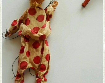 Vintage Wooden and Ceramic Clown Marionette