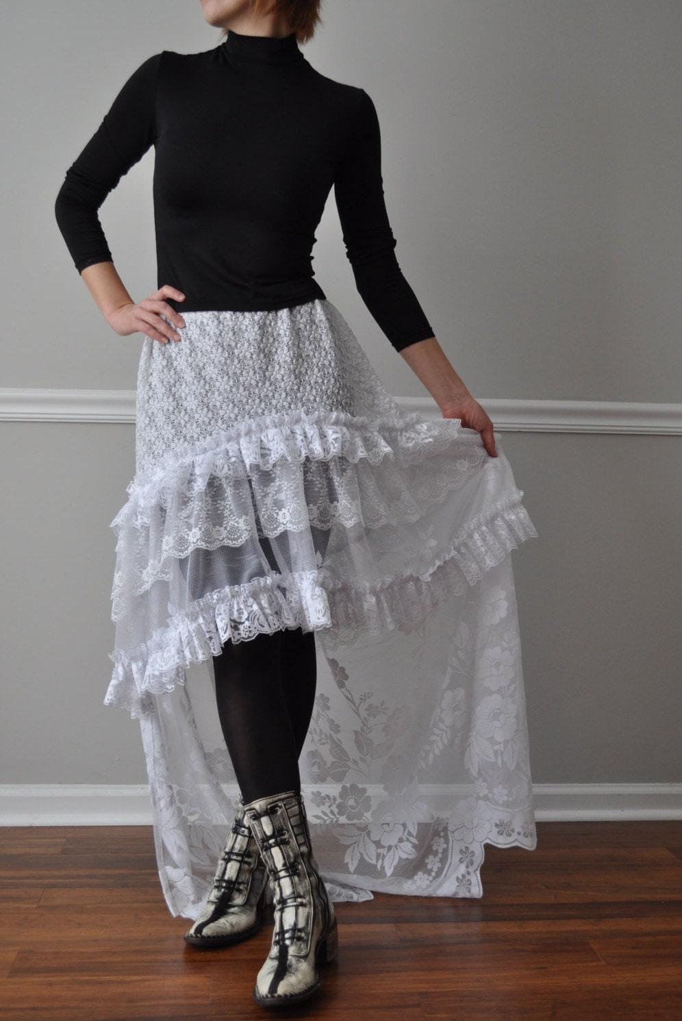 white hi low ruffle bustle skirt steunk bohemian