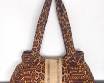 Adorable Handbag/Cotton Christian theme cheetah -Ready To Ship