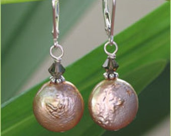 Tan Coin Pearl Earrings