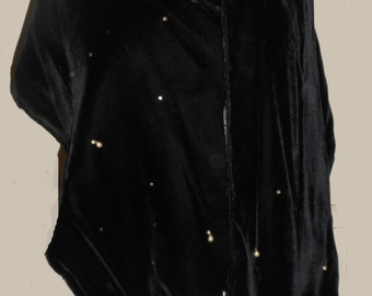 Women's Vintage 1950's Black Velvet Shawl With Cord Fringe, Pearls and Rhinestones. Sz S-M L