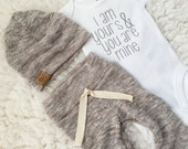 I am yours & you are mine | oatmeal newborn outfit | baby take home outfit | neutral baby clothing | unisex baby outfit | newborn clothes