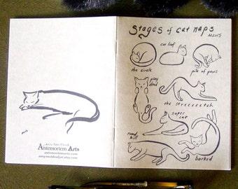 Pocket Notebook with Cats - Catnap Zen Minimalist Brush Painting Catnap Borked