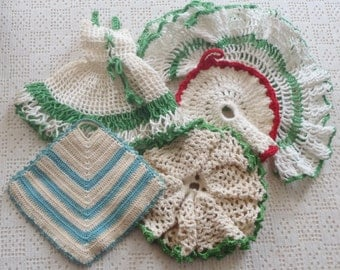 Vintage Crochet Pot Holders Green, Red, Blue and White 5 Pc.