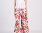 French Painter Cropped Wide Bottom Pants with Pocket - Floral Burst Orange Linen