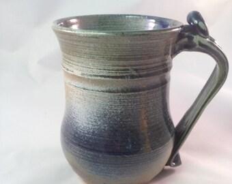 "Blue Stoneware Mug Handmade, Wheelthrown 20 oz 5 x 5.5"""
