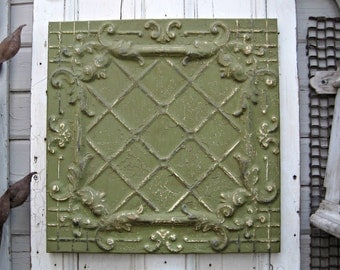 FRAMED Tin Ceiling Tile. 2'x2' Antique metal tile. Green wall decor. Architecture salvage. Vintage Embossed pressed tin. Garden decor.