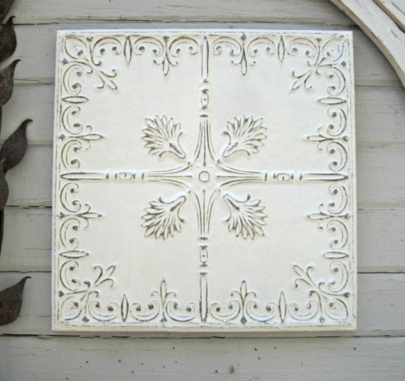 White Architectural Wall Decor : Framed ceiling tin tile antique by driveinservice on etsy