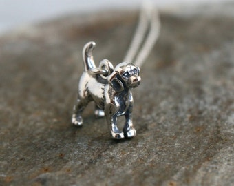 Sterling Silver Dog Necklace / Beagle Necklace