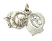 Vintage Saint Rita - Saint Anthony Catholic Medal - Silver Rose Shaped Locket Charm - S6