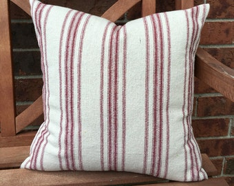 Grain Sack Pillow Cover Red Stripes
