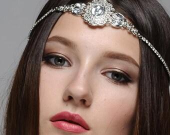 Maya Boho Bohemian Goddess Vintage Jeweled Gatsby wedding Headband Head Piece Forehead Headdress