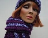 Purple Hat Scarf Set, Hat and Scarf Set, Violet Crochet Set, Crochet Hat Scarf, Winter Hat and Scarf, Cold Weather Set