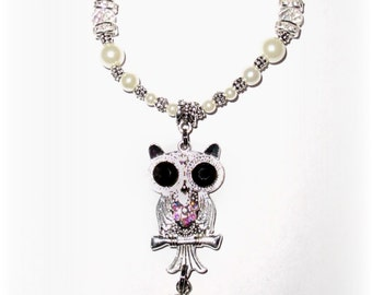 Wedding Bouquet Memorial Photo Metal Charm Silver Owl Iridescent Crystals Gems Pearls Silver Tibetan Beads - FREE SHIPPING