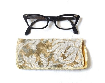 vintage 1950's NOS eyeglass case soft damacus silk lined eye glass eyewear mid century modern retro accessories accessory gold white floral