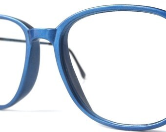 vintage 1980's NOS dino da deppo viva eyeglasses metallic electric blue round plastic frames women mens woman mans eye glasses eyewear retro