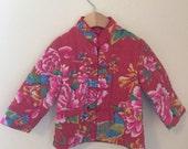 Vintage Toddler Red Asian Kimono Jacket w/ Satin Liner size 3T