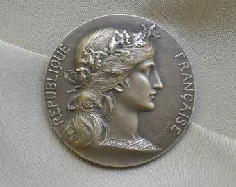 Vintage French Art Medal Bronze Republique Française