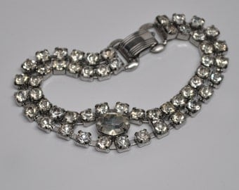 Vintage Rhinestone Bracelet For Stacking Silver Toned 1950's Faux Diamonds