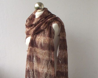 Chocolate Brown hand knitted merino and silk  lace stole with nupps, SPRING SALE 25% OFF