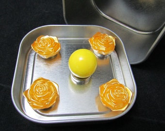 Strong fridge magnets, yellow rose magnets, yellow marble magnet, neodymium magnets, cute housewarming gift 521