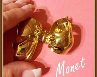 Large Monet Bow Brooch, Gold Tone, Semi Formal, Shiny, Vintage 1980's