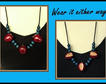 Vintage Wood Apple Necklace, Teal Beads, Fabric Cord, Reversible, 1980's
