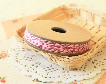 PEPPERMINT red white and pink Divine Twine 20yd Reel 4-ply cotton bakers twine string