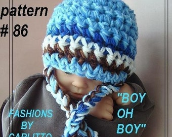 Crochet pattern, hat num 86, Chunky style hat  for boys, or girls... newborn to 3 months, photo prop, , instant download