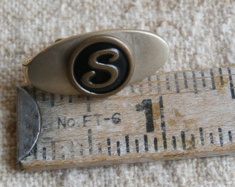 Vintage S Initial Tie Bar, Tie Clip, Gold Toned with Black Letter