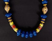 Reserved SALE Antique Millefiore Bead Necklace Red and Yellow Venetian Glass with Big Blue Fluted Glass Beads Colorful Boho African Jewelry
