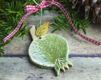 Green pomegranate ceramic hanging ornament, Rustic Decorations, Spring Decor Good Luck charm, Woodland Decor, wedding Housewarming Gift
