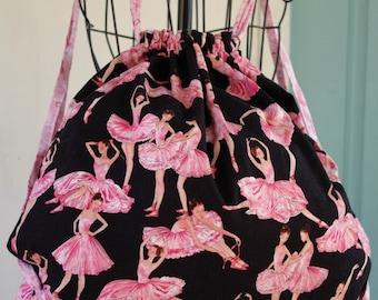 Large Drawstring Bag Ballerina Print ...The Darcy Collection