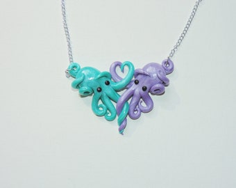 Intertwined Octopi in love Necklace,  mint and lavendar valentines day gift, anniversary, christmas, birthday,
