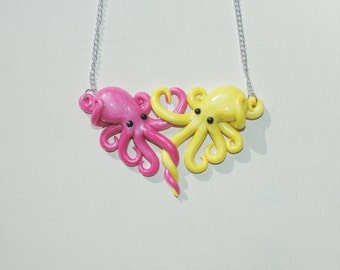 Intertwined Octopi in love Necklace,  magenta and yellow valentines day gift, anniversary, christmas, birthday,