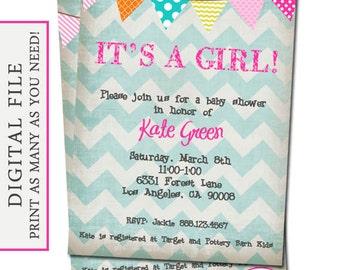 Chevron Baby Girl Shower Invitation - It's a Girl - Digital File