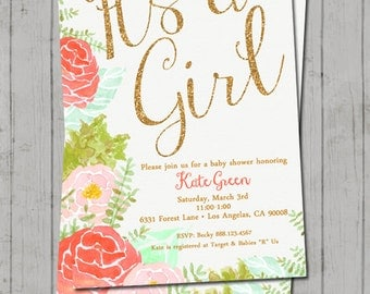 Watercolor Baby Girl Shower Invitation - Coral and Mint Baby Shower Invitation - Girl Baby Shower - Shabby Chic - Digital - Water Color