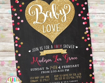 Valentine Baby Shower, Baby Shower Invite, Printable Invitation, Hearts Baby Shower, Neutral Baby Shower Invite, Baby Love, Gold Glitter