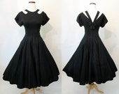 """CLEARANCE Cute as the Dickens 1950's Black Cotton Party Cocktail Dress with """"Cage Style"""" Back Rockabilly Vlv Pinup Girl Vixen Size-Meduim"""