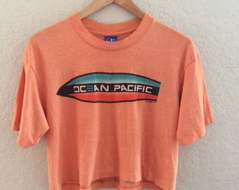 Vtg 80s Ocean Pacific Faded Soft Surfer Crop Top T Shirt