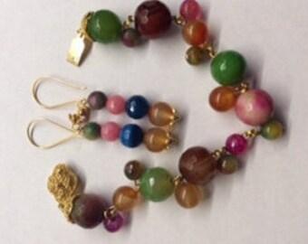 Multi-Color Bracelet and Earrings