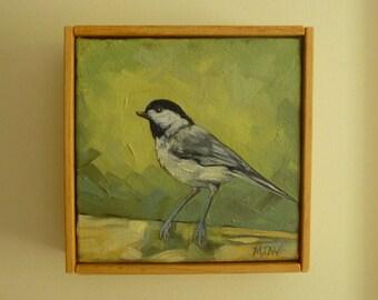 Chickadee painting 6x6