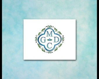 Couple Monogram Note Cards / Unique Wedding Stationery / Quatrefoil Lily of the Valley Blue & Green / Renaissance Engagement Anniversary