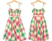 70s Sundress * Vintage 1970s Sun Dress * Madras Plaid Dress * Large