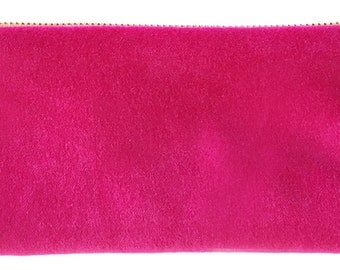 Velvet Pencil Zip lined with hand printed linen, available in tangerine, navy, hot pink or yellow
